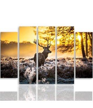 Schilderij Hert in het bos, 5 luik, XXL, 4 maten, premium print