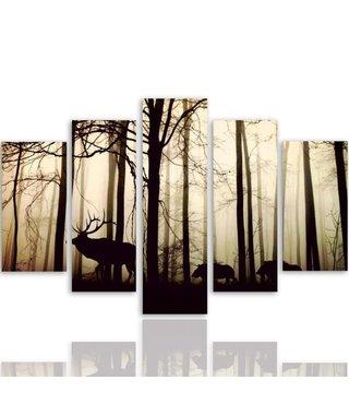 Schilderij Dieren in het bos, 5 luik, 4 maten, premium print