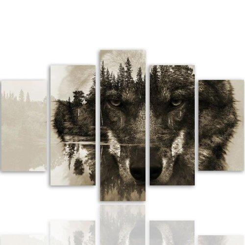 Schilderij Wolf in het bos, 5 luik, 4 maten, wanddecoratie