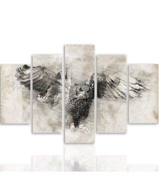Schilderij Vliegende Uil in zwart en wit, 5 luik, 4 maten
