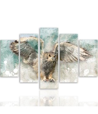 Schilderij Vliegende Uil, 5 luik, 4 maten, wanddecoratie