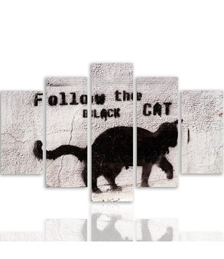Schilderij Volg de zwarte kat, 5 luik, XXL, wanddecoratie