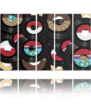 Schilderij Vinyl, vintage,5 luik,  4 maten, XXL, wanddecoratie