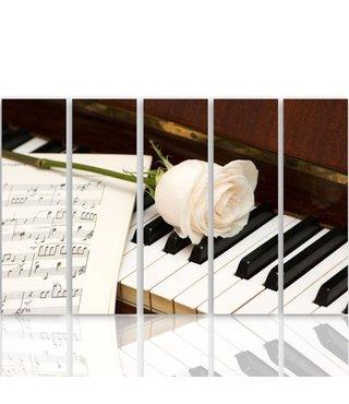 Schilderij Witte roos op piano, 5 luik, 4 maten, XXL, premium print