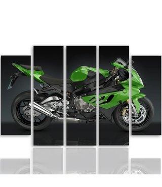 Schilderij Groene motor, 4 maten, XXL, 5 luik, wanddecoratie