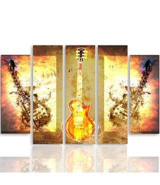 Schilderij Elektrische gitaren, 5 luik, 4 maten, wanddecoratie