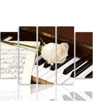 Schilderij Witte roos op piano, 5 luik, 4 maten, premium print