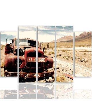 Schilderij Oude truck in de woestijn, 5 luik, XXL, 4 maten
