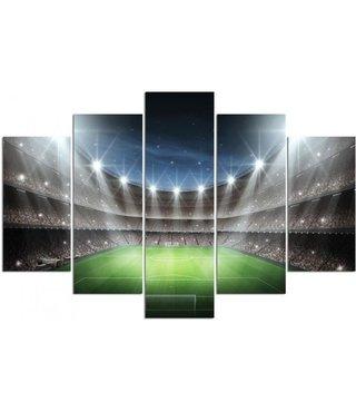 Schilderij Voetbal stadion, lights on, 5 luik, XXL, premium print, 4 maten