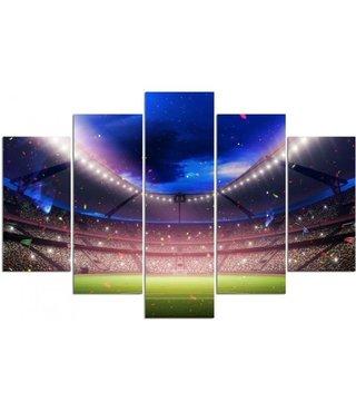 Schilderij Voetbal stadion, 5 luik, 4 maten, premium print