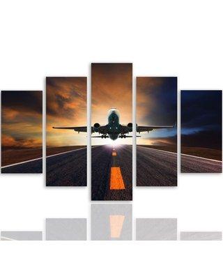 Schilderij Vertrekkend vliegtuig, XXL, 5 luik, premium print (wanddecoratie)