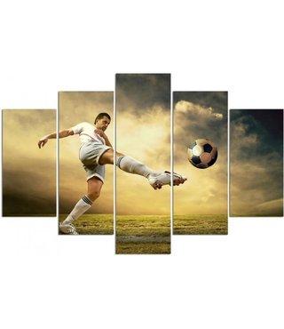 Schilderij Voetbal, Volley, XXL, 5 luik, wanddecoratie