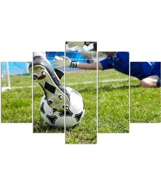 Schilderij Voetbal, 5 luik, XXL, print op canvas, premium print