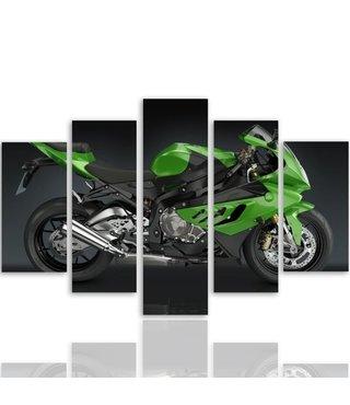 Schilderij groene motor, automotive, 5 luik, XXL, premium print