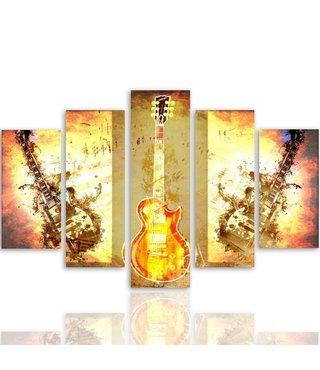 Schilderij Gitaren, Rock and Roll, 5 luik, XXL, wanddecoratie