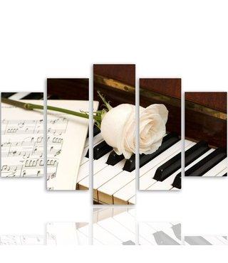 Schilderij witte roos op piano met bladmuziek, XXL, 4 maten, wanddecoratie