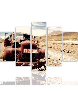 Schilderij Oude truck in de woestijn, 5 luik, XXL, premium print