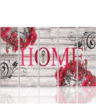 Schilderij HOME met rode bloemen, THUIS, XXL, 5 luik