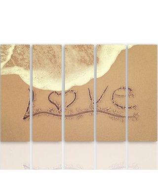 Schilderij LOVE op het strand, liefde, XXL, 4 maten, print op canvas