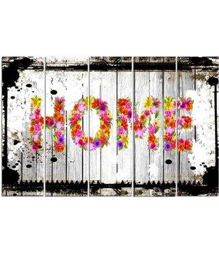 Schilderij HOME in bloemen, XXL, 4 maten, premium print