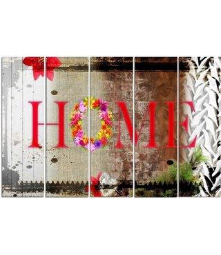 Schilderij HOME, 5 luik, 4 maten, premium print