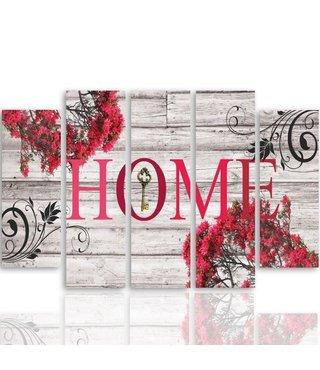Schilderij HOME waar de bloemen staan, 4 maten,5 luik, premium print (wanddecoratie)