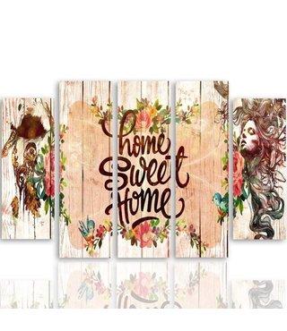 Schilderij Home sweet home in kader, 4 maten,  5 luik, wanddecoratie