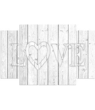 Schilderij LOVE op witte houten planken, XXL (print op canvas)  4 maten