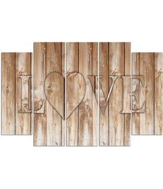 Schilderij LOVE op houten planken (print op canvas) premium print, XXL, 4 maten