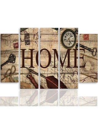 Schilderij HOME, echt thuis, XXL , 5 luik, wanddecoratie, premium print
