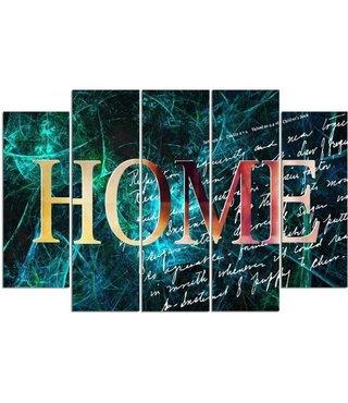 Schilderij HOME in het spookhuis, XXL , 5 luik, wanddecoratie