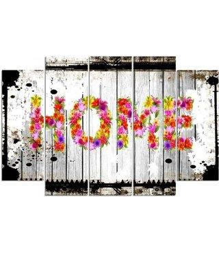 Schilderij HOME Bloemen op hout (print op canvas) XXL, wanddecoratie