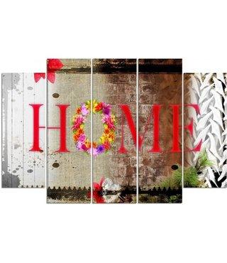 Schilderij HOME, bloemenkrans, XXL, premium print (wanddecoratie)
