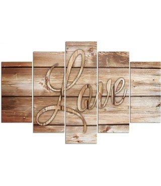 Schilderij Liefde op Planken, LOVE, XXL (wanddecoratie)