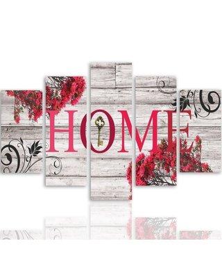 Schilderij HOME op hout (print op canvas) XXL, wanddecoratie