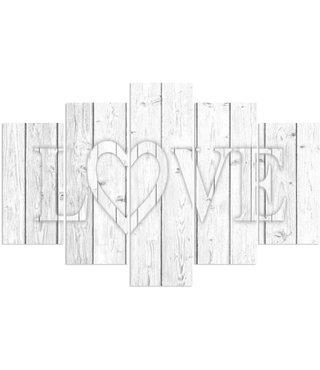 Schilderij Liefde op hout, LOVE, print op canvas, XXL