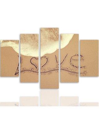 Schilderij Liefde in het zand, LOVE, XXL (wanddecoratie)