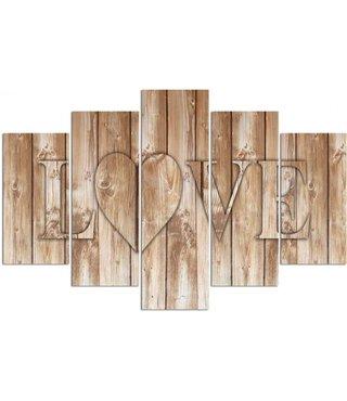 Schilderij Liefde op hout, LOVE (afbeelding op canvas)  XXL