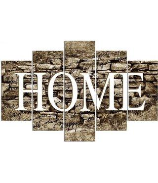 Schilderij HOME op betonnen wand, 4 maten, XXL (wanddecoratie)