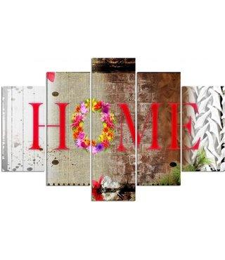 Schilderij Home op bloemen, Tekst, XXL, Vijfluik (wanddecoratie)