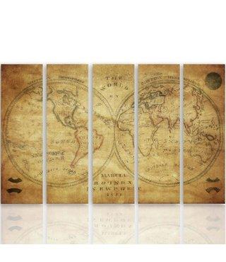 Schilderij Historische Wereldkaart, XXL, vijfluik