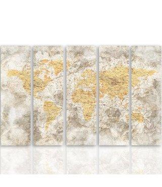 Schilderij De oude wereld, XXL, Vijfluik,  4 maten
