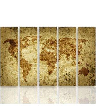 Schilderij De oude wereld, Wereldkaart, XXL, Vijfluik