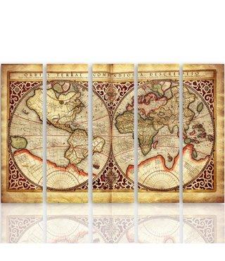 Schilderij Oude Wereldkaart, XXL, Vijfluik, 4 maten
