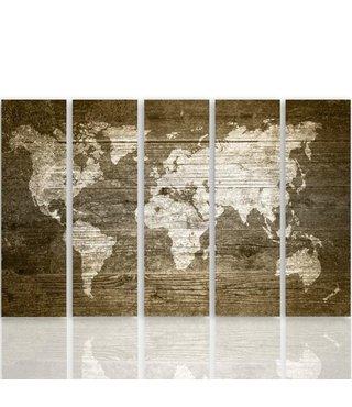 Schilderij De Wereld op hout (canvas product) XXL, Vijfluik