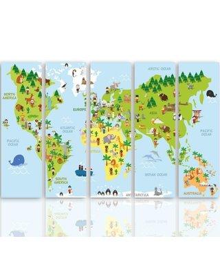 Schilderij Wereldkaart voor de Kinderkamer, XXL, Vijfluik