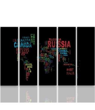 Schilderij Wereldkaart met Landen namen, XXL, Vijfluik
