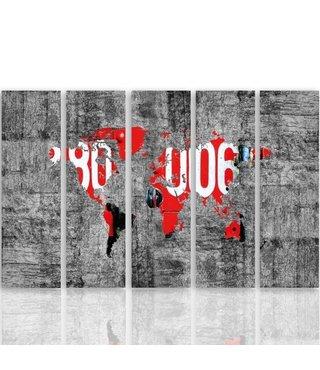Schilderij Wereldkaart op beton (product op canvas) XXL, Vijfluik