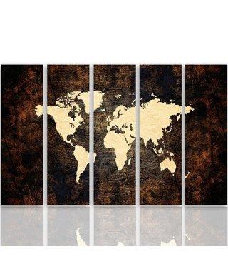 Schilderij Kaart van de Wereld, Vijfluik, XXL, 4 maten