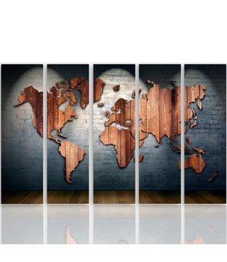 Schilderij Houten wereld op betonnen muur (canvas product)  XXL, Vijfluik